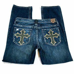Archaic Denim Straight Leg Distressed Cross Jeans